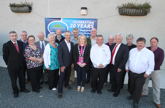Chiarperson of Newry Mourne and Down District Council, Cllr Naomi Bailie, with local councillors, MLA's and County Down RCN members at Annsborough Community Centre.