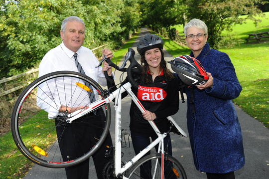 Christian AidÕs church and community officer Helen Newell are joined by South Down's MP Margaret Ritchie  and Jim Wells MLA who are lending their support to the charityÕs Strangford Cycling Sportiffe, which leaves Delamont Country Park at 8am this Saturday.