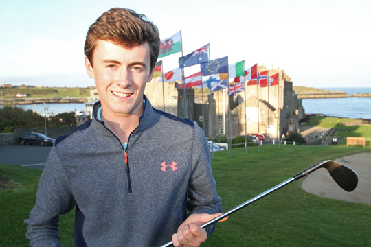 Club Champion: 18-year old Conor Hynds at the 18th green in Ardglass Golf Club.