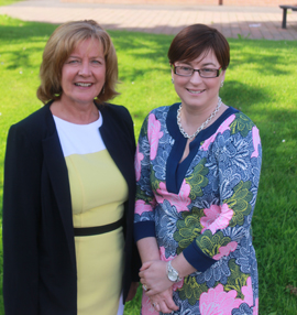 Pictured is Principal, Mrs Orla O'Neill with her predecessor Mrs Joan McCombe.