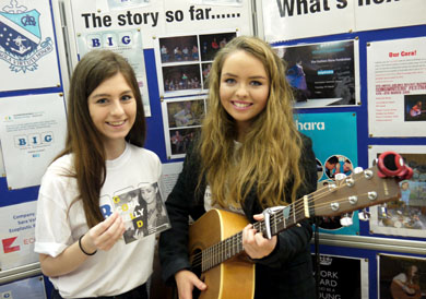 Courtney Walker showcases her company BIG Events Management with local musician Cora Kelly at a Young Enterprise Trade Fair event held at Bloomfield Shopping Centre earlier this year.