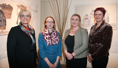 Margaret Ritchie, MP; Victoria Millar, Keeper of Collections, Down County Museum;  Sinead McCartan, Director of Collections and Interpretation; National Museums Northern Ireland; and Madeleine McAllister, Assistant Keeper of Collections, Down County Museum