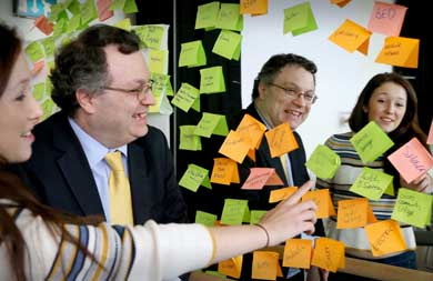 Pictured at Designfest, organised by Work West Enterprise Agency are Minister for Employment and Learning, Dr Stephen Farry MLA and Elaine Megaw, Designfest participant