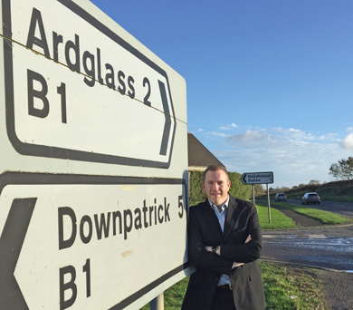 South Down MLA Chris Hazzard on the Ardglass Road between Ardglass and Downpatrick.