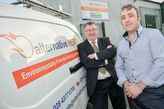 Damian McAuley, Invest NI, with Connell McMullen, Alternative Heat