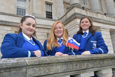 At this year's Mock Council of the European Union, Assumption Grammar Girls (from left), Molly Edgar, Laura Dagens and Ciara Hunt, representing Slovenia, were the lucky winners of a trip to Brussels.
