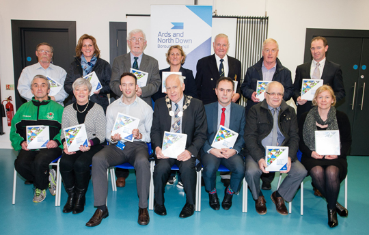 Pictured (from left to right)  Front Row: Mark Mawhinney from Comber Wado Ryu Karate; Elaine Taylor from Ballyholme Yacht Club; Craig Connor Assistant Sports Development Officer for Ards and North Down Borough Council; Mayor of Ards and North Down, Alderman Alan Graham; Graeme Bannister , Director of Community and Wellbeing for Ards and North Down Borough Council; Councillor Jimmy Menagh, Chair of Ards and North Down Sports Forum; Emma Hingston, Sports Development Officer for Ards and North Down Borough Council. Back Row: John Sloan from Northern Ireland Cross Community Angling; Carol Allen from Wizards Special Olympics Basketball Club; Rab Dunn from Ards Cricket Club; Jo Rennie from Ballyholme Yacht Club; Trevor Downes from North Down Bowling Club; Brian McDonald from St Patricks Racquet Club; Ivan Mellon from the Diving Academy of Northern Ireland.