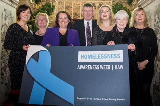 Pictured are Deirdre Canavan De Paul Ireland; Sandra Moore, Welcome Organisation; Paula Bradley, Assembly Private Secretary to Health Minister; Mervyn Storey, Minister for Social Development; Joanne McKissick, Patient and Client Council; Anne Sweeney, Northern Ireland Housing Executive and Ricky Rowledge, Council for Homeless Northern Ireland.