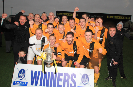The H&W Welders celebrate after beating Albert Foundry in the Steel and Sons Cup at Seaview.
