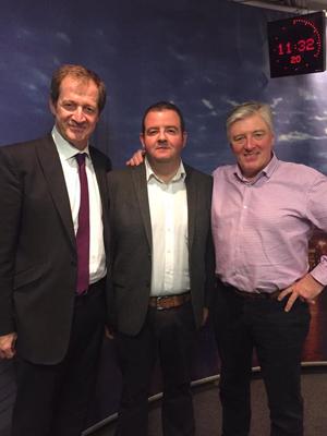 Minor manager Eamonn Devlin with Alastair Campbell & Pat Kenny at Newstalk 106-108 fm studio last week.