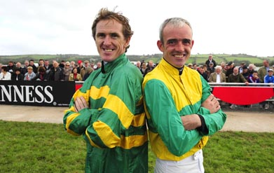 TONY McCOY AND RUBY WALSH TOGETHER FOR CHARITY RACE DAY AT LIMERICK IN AID OF J T McNAMARA and JONJO BRIGHT. Photo HEALY RACING.