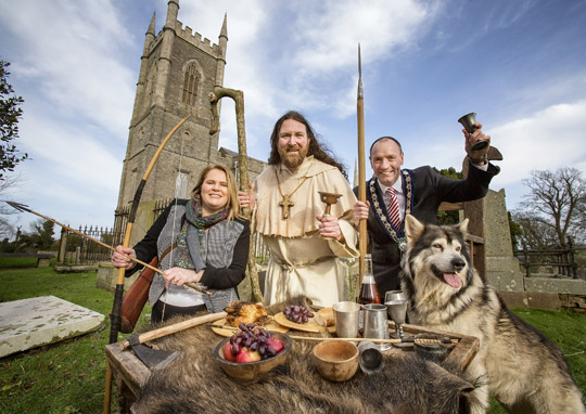 Marie Ward (Director of Enterprise, Regeneration & Tourism, Newry, Mourne and Down District Council), Marty Burns as Saint Patrick and Newry, Mourne and Down District Council Chairperson, Cllr Micky Ruane get prepared for this year's 'Feast & Wild Beasts' St Patrick's Festival in Downpatrick and Newry.