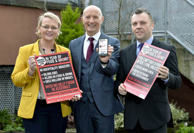 Launching the campaign is Hospitality Ulster Chair, Olga Walls, Chief Executive, Colin Neill, and past Chair Mark Stewart.