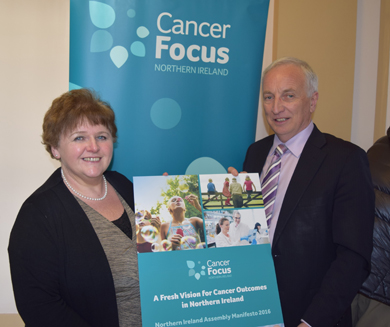 South Down SDLP MLA Séan Rogers supports the Cancer Focus NI initiative at Stormont.