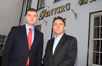 Councillor Colin McGrath pictured with Stephen Magorrian, a Director of Denvir's Hotel in Downpatrick.