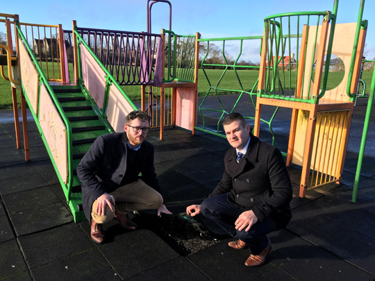 Councillors gareth Sharvin and Colin McGrath are concerned at the poor state of the playground in Killough and have called on the Council to make improvements.