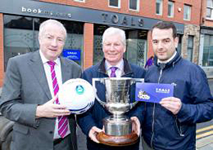 Toals Bookmakers have sponsored the Harry Clarke Cup. Pictured are Robert Hayworth, NADFL Chairman, Frank McClean, League Vice Chair receiving a cheque for sponsorship from Colm Holland on behalf of Toals Bookmakers.