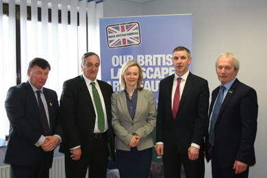 Pictured is the UK Farming Union Presidents with the Secretary of State at Defra, Liz Truss.
