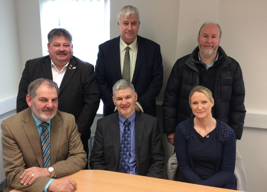DUP councillors with Police Inspector Mark Peters, front centre at their recent meeting.