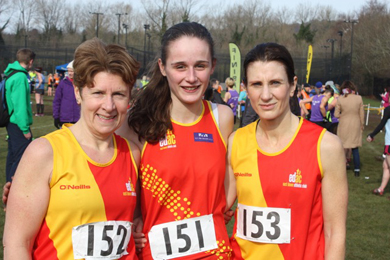 Alison Carroll. Laura Gardiner and Alison Gililand, the East Down AC ladies' team on Saturday.