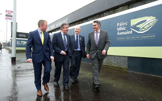 Stephen McGeehan, Project Sponsor,  Tom Daly, Chairman of the Casement Park Project Board, Michael Hasson, Ulster Council President and Rory Miskelly, Project Director. (Picture by Kelvin Boyes  / Press Eye.)