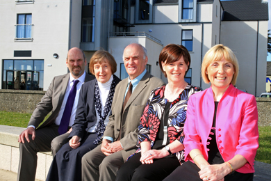At the re-opening of Clare Lodge in Newcastle were Michael Donnelly ( Community and Volunteering Unit DSD), Sr Anne McCourt (Long Term Supporter of Clare Lodge), Aidan Crawford (SVP Regional President)  Brenda McLarnon (Clare Lodge Manager) and Pauline Brown (Regional Manager SVP.