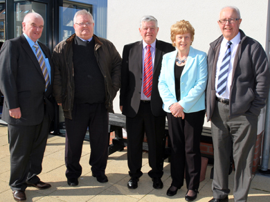 East Down SVP Conference members Gerry McShane, Dick Cull, Sean Connor, Patricia McKernon and Michael Hood at the official reopening of Clare Lodge in Newcastle.