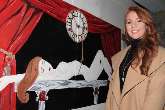 Karen Fitzsimons shows off her painting 'Body Clock'.