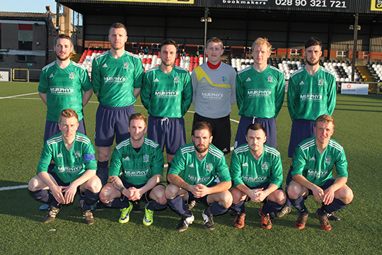 The Downpatrick team who beat Lisburn Rangers 2-0 to secure their place in the Clarence Cup final.