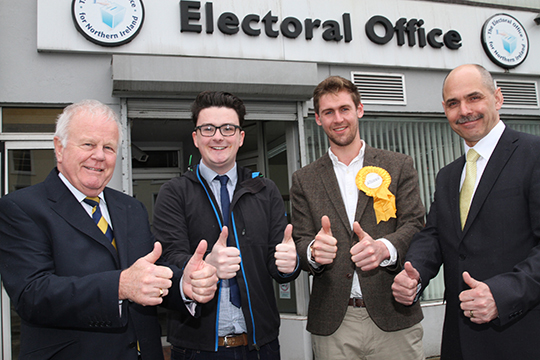 Alliance candidates at the Banbridge electoral office after they handed in their nomination papers. Pictured are Trevor Lunn (Lagan Valley), Craig Weir (Newry and Armagh), Patrick Brown (South Down), and Harry Hamilton (Upper Bann).