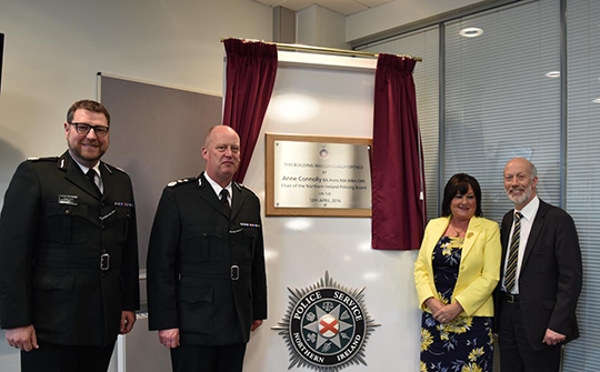 PSNI Assistant Chief Constable Stephen Martin, PSNI Chief Constable George Hamilton, Chair of Northern Ireland Policing Board Anne Connolly and Justice Minister David Ford attend the official opening of Downpatrick Police Station.
