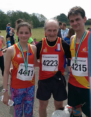 Lara (4411) and Dad Gareth Amos providing much needed support to Joe Quinn after Saturday's Ballyclare Mayfair races.