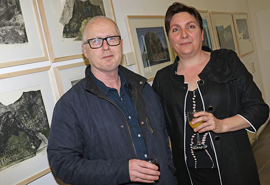 Valerie Giannandrea McKeag with her husband John at the launch of her exhibition in the Down Arts Centre which runs until 25th June.