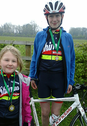 Sophie & Christopher Neill who were racing in the Orwell Wheelers One Day Youth Races.