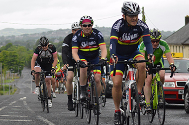 Shimna Wheelers Danny O'Boyle and Ronan Kelly at the front of the peloton.