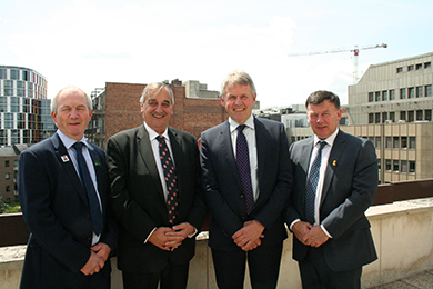 Pictured in Brussels are the UK farming union presidents, left to right: Stephen James (NFU Cymru) , Meurig Raymond (NFU) , Barclay Bell (UFU) , Allan Bowie (NFUS).