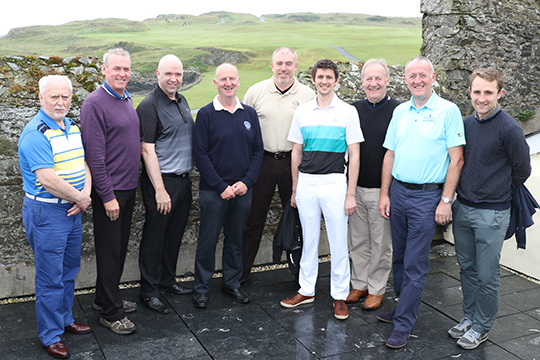 Ardglass Golf Club captain Bill Brown, fourth left with guests just before their round on his Captain's Day.