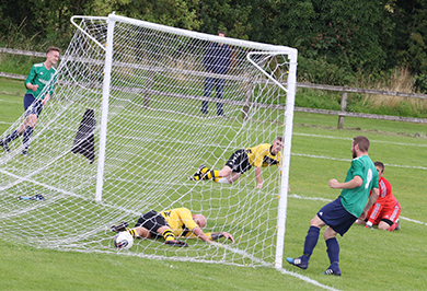 A slip by the Shankhill defence puts Downpatrick two up.