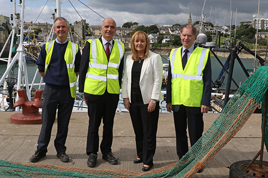NI Fisheries MInister Michelle McIlveen pictured on her tour of the three fishing villages in County Down. Included are Northern Ireland Fisheries and Harbour Authority harbour master for Ardglass, John Smyth, Kevin Quigley, chief executive and Terry Jarvis, Board chairman.