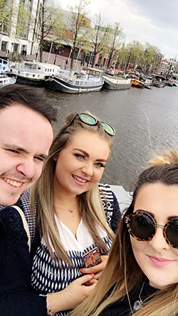SERC Foundation Degree Hospitality Tourism and Events students from Downpatrick pictured in Amsterdam during their work experience at the Irish Institute in Leuven in Belgium.