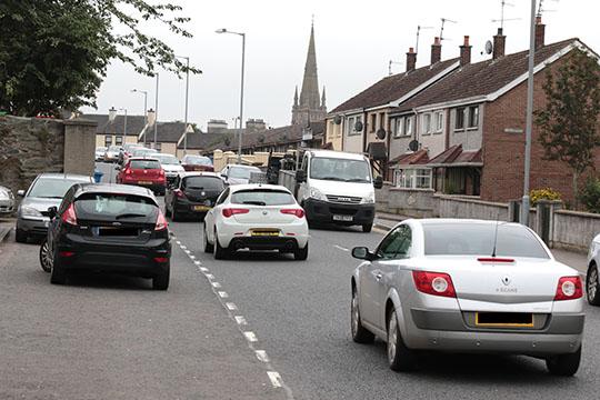 Traffic negotiates Fountain Street in Downpatrick.