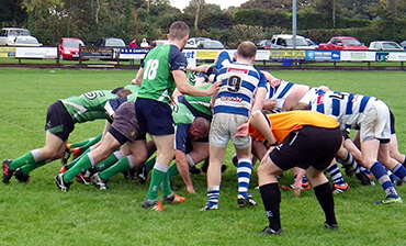 Ben McMullan watches his Hinch 3's scrum put huge pressure on Dungannon 2's.