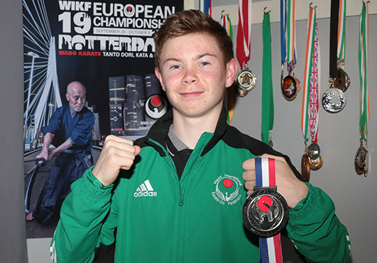 Ryan McEvoy from Ardglass won a silver medal in the free fighing competitions in the WIKF European Championships held in Rotterdam.