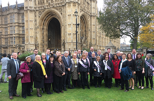 South Down MP Margaret Ritchie on Cromwell Green with other MP's and women from the WASPI campaign.