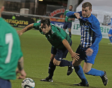 Andrew Beggley in action for Downpatrick against Immaculata.