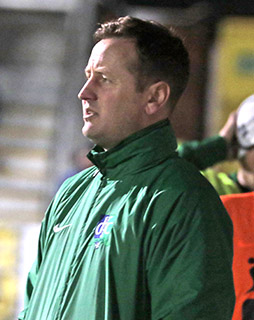 Downpatrick FC Manager Joe McMahon keeps an eye on the run of play against Immaculata.