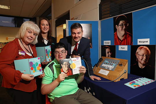 At the exhibition launch in Downpatrick Library were (l-r) Margaret McArdle, Downpatrick Library Manager; Attracta McPeake, Speech and Language Therapist; South Down MLA Colin McGrath, and  Ryan Walsh, My Journey My Voice participant (front).