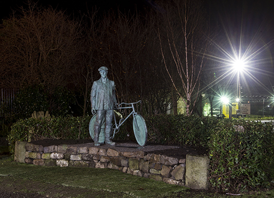 """Patrick Rankin """"A Newry Man, a Family Man, a Lover of Literature, Opera, Gaelic Games & Nature. Unveiled in Newry - the Public Artwork in recognition of Patrick Rankin, the only Newry person who quite literally got on his bike and cycled 70 miles to Dublin to take part in the 1916 Easter Rising. picture Newraypics.com"""