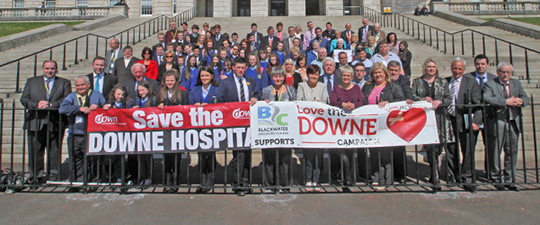 The Down Community Health Committee with supporters on the steps of Stormont in April 2015.