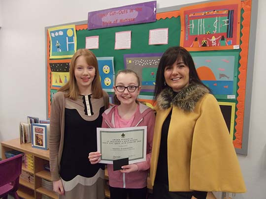 Shaunna Clendenning – St Joseph's Carnacaville photographed with Miss Adele Gribben & Mrs Kathy McLarnon (SMHS).